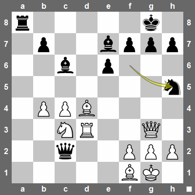 24... Nh5 attacks Qg3 and defends g7.