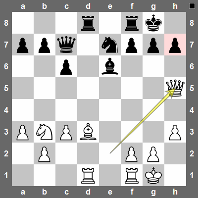 White ignores black's threat and plays Qh5, threatening Qxh7#