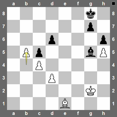 b5! creates a powerful passed pawn that will keep the black bishop busy.