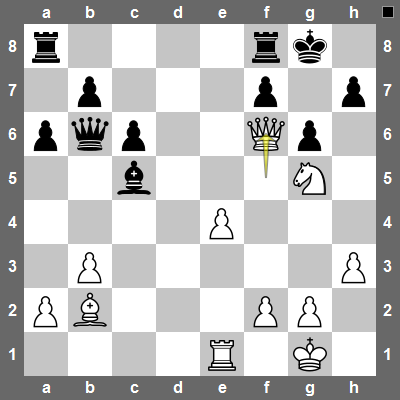 Qf6! White totally overpowered the black defenses on the king-side. The only way to prevent mate is to give up a lot of material after Bd4, Bxd4, Qxd4 Qxd4.
