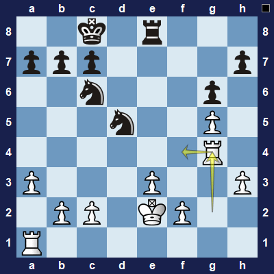 White could instead move their rook here to stop black's threat.
