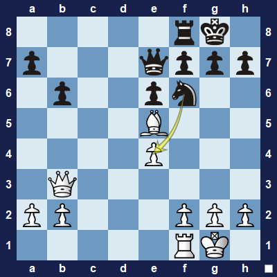 Black is threatening to capture the pawn on e4.