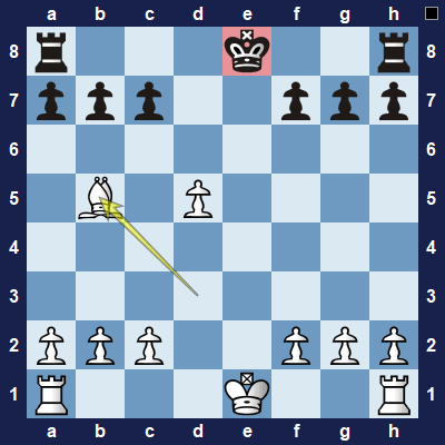 "Bb5+ means Bishop moves to b5 and says ""check""."
