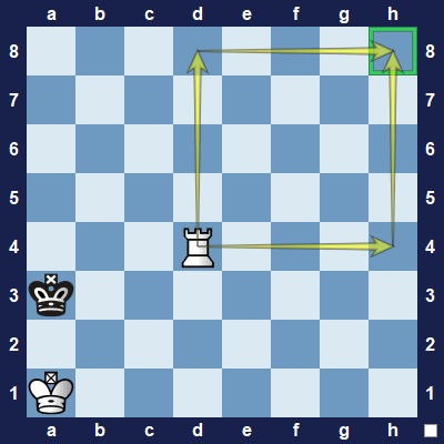 The rook requires two moves to get to h8.