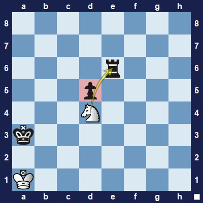The knight may jump over the pawn to capture the rook.