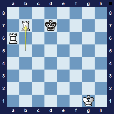 White checks the king again and forces it to move to the side of the board.