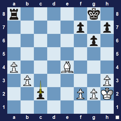 Should white's bishop capture the rook, or the pawn? The pawn! Else the pawn would promote to a queen on the next move.
