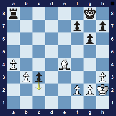 Black moves their pawn to c2. What should you now do as white?