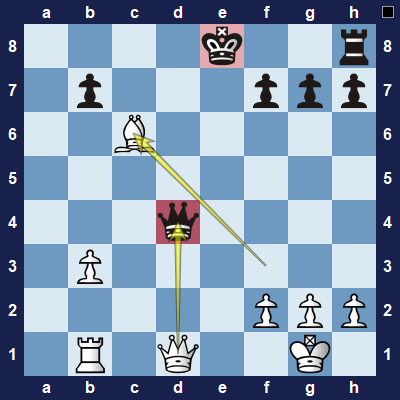 White removes the defender of black's queen, with check, and will capture black's queen on the next move.