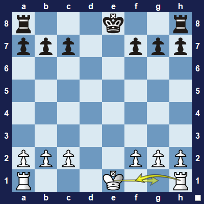 Castling. The king moves two squares towards the rook, and the rook jumps over the king.