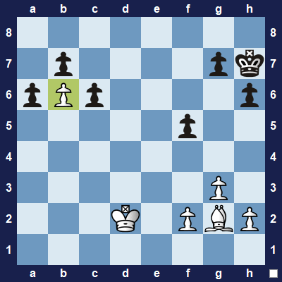 How can white unblock the pawn on b6? Use the bishop!
