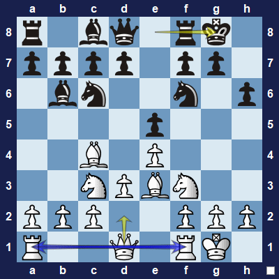 White can connect the rooks by developing the queen.
