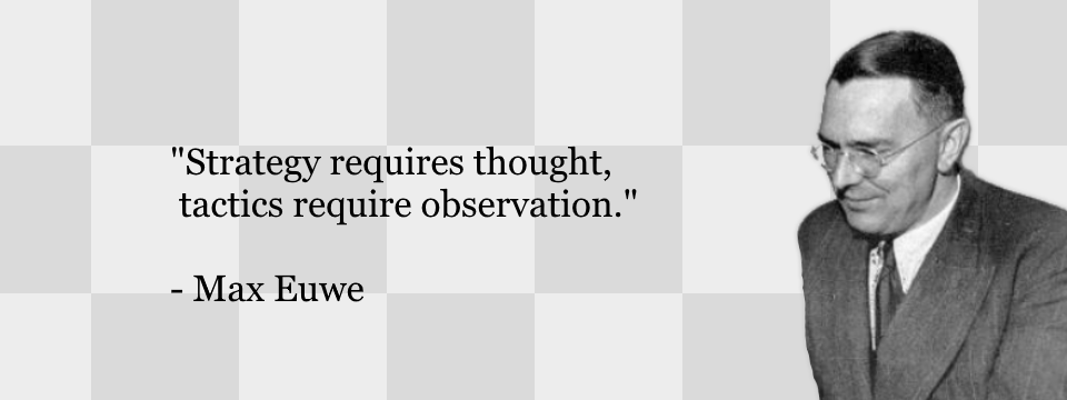 """The Difference Between Chess Strategy and Tactics. """"Strategy requires thought, tactics require observation."""" - Max Euwe"""