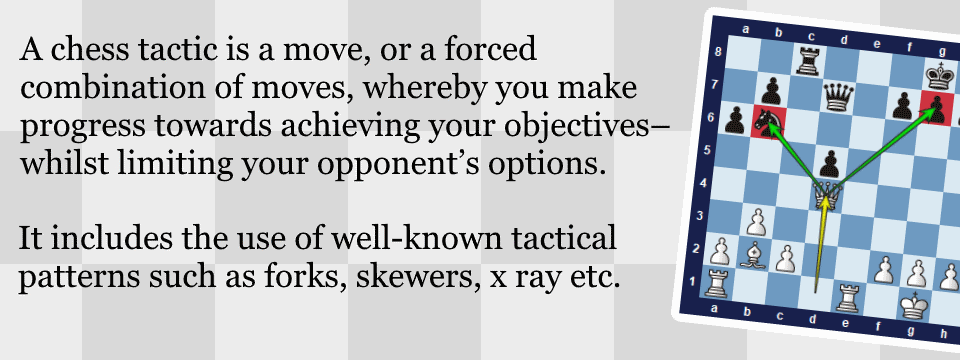 The definition of chess tactics. A chess tactic is a move, or a forced combination of moves, whereby you make progress towards achieving your objectives--whilst limiting your opponent's options.